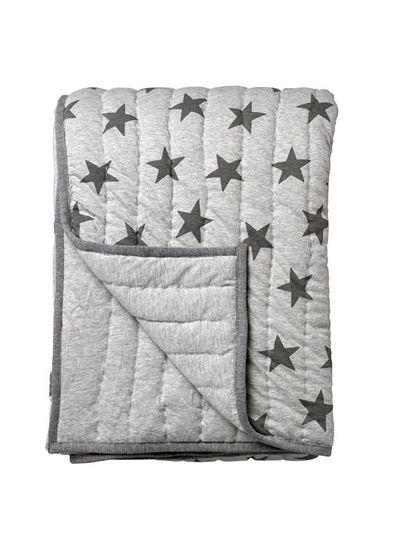 Bloomingville Plaid/Jeté en gris avec motif étoile - Bloomingville