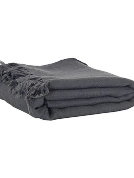 Tell me more Blanket / Throw in boiled fairtrade wool - Gray - 100x200cm - Tell Me More