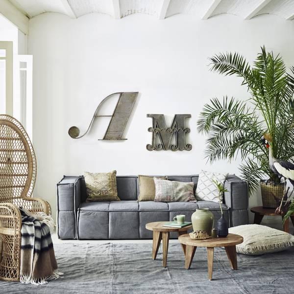 HK Living Canapé en toile Canvas - Gris - HK Living