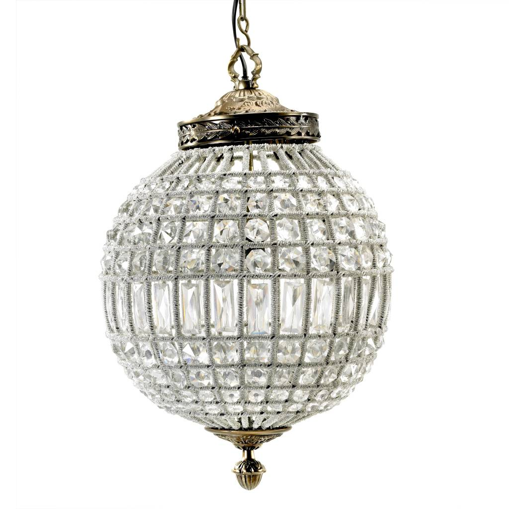 Nordal Large crystal ball pendant lamp - glass beads / metal - Ø35cm - Nordal