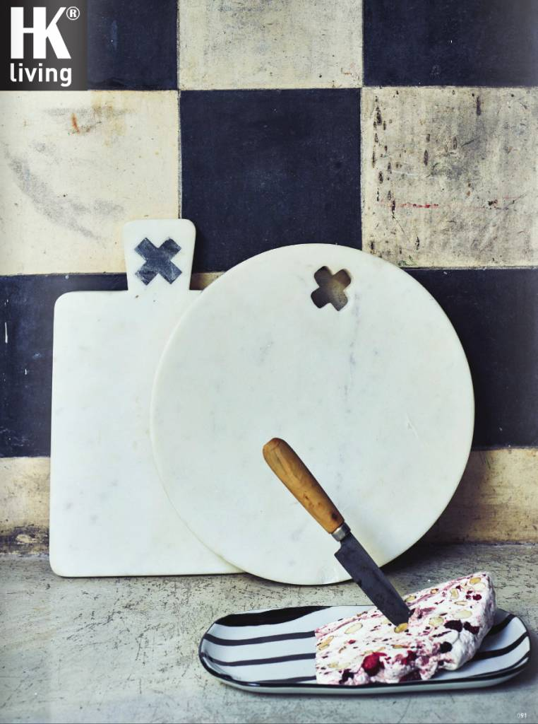 HK Living Tabla Redonda para Cortar Pan - Mármol - Blanco - Ø28cm- HK Living
