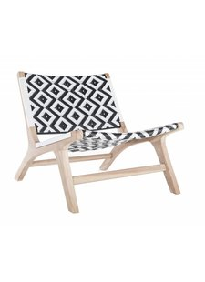 Uniqwa Furniture Sillón 'Cape Town' en teca y ratán de poliéster durable - Natural / Negro / Blanco - Uniqwa Furniture