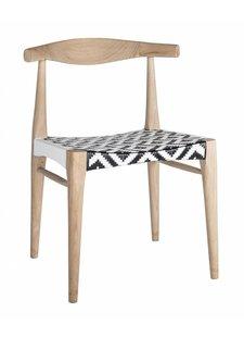 Uniqwa Furniture Silla  de Comedor 'Cape Town Horn' - Teca de plantación y cuero - Blanco / Negro - Uniqwa Furniture
