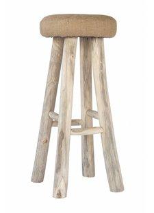 Uniqwa Furniture Tabouret de bar en teck et jute - Uniqwa Furniture