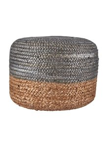 House Doctor Pouf rond en chanvre naturel et gris - Ø45cm - House Doctor