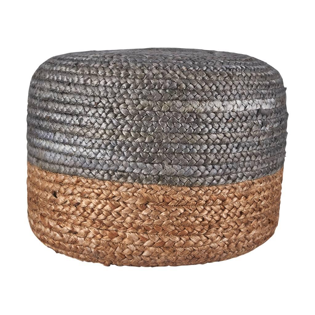 house doctor pouf rond en chanvre naturel et noir 45cm. Black Bedroom Furniture Sets. Home Design Ideas