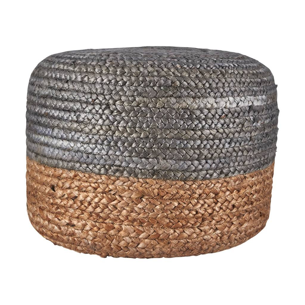 House Doctor Pouf round natural and grey hemp - Ø45cm - House Doctor