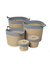 Broste Copenhagen Set of 5 baskets - Natural / Grey - Broste Copenhagen