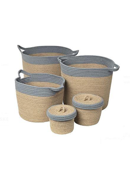 Broste Copenhagen Set of 5 baskets - Natural / Grey - Broste Copenhagen