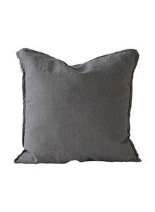 Tell me more Housse de coussin 100% lin - gris foncé - 50x50cm - Tell Me More