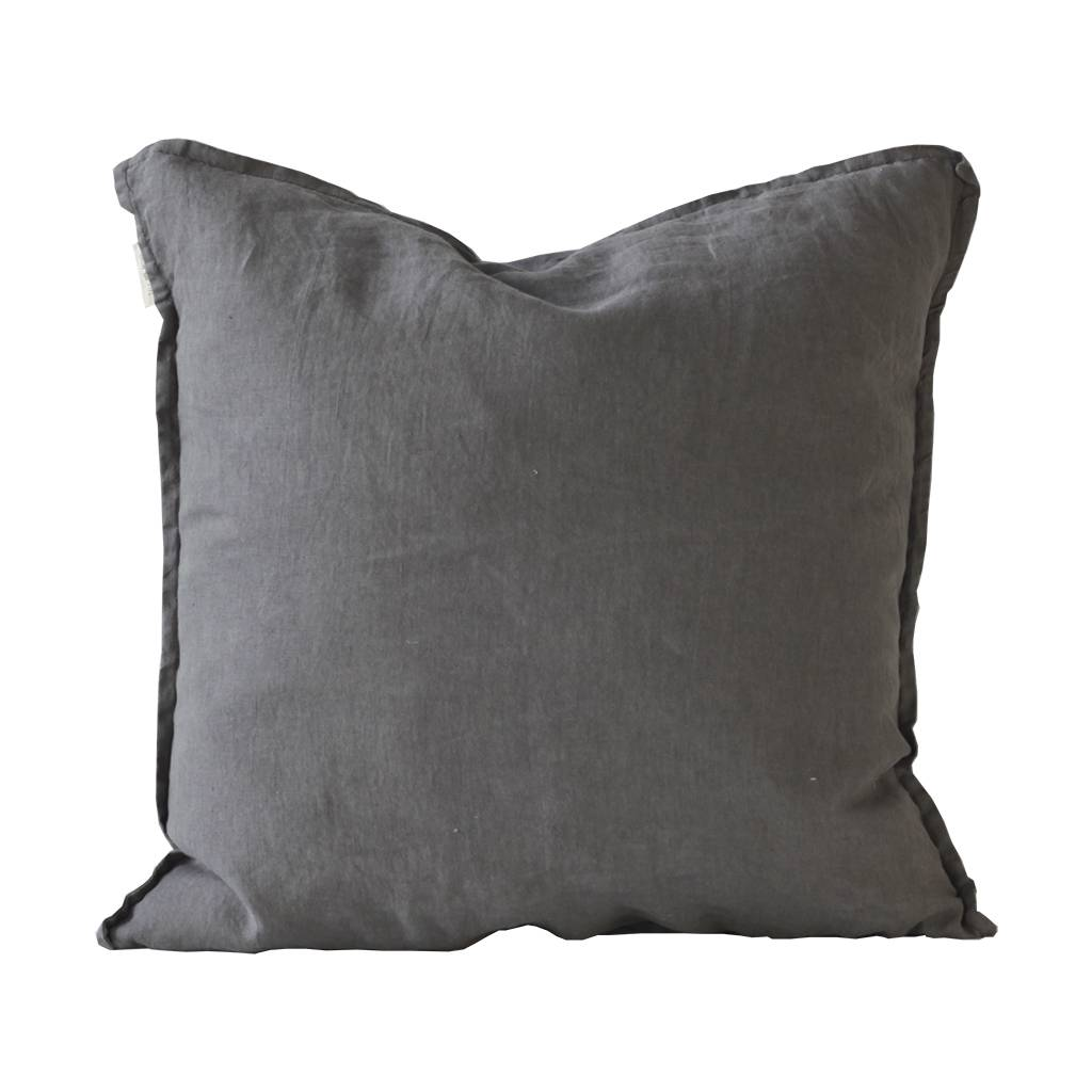 Tell me more Cushion cover 100% stonewashed linen - dark gray - 65x65cm - Tell Me More
