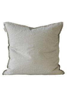 Tell me more Housse de coussin 100% lin - gris clair - 50x50cm - Tell Me More