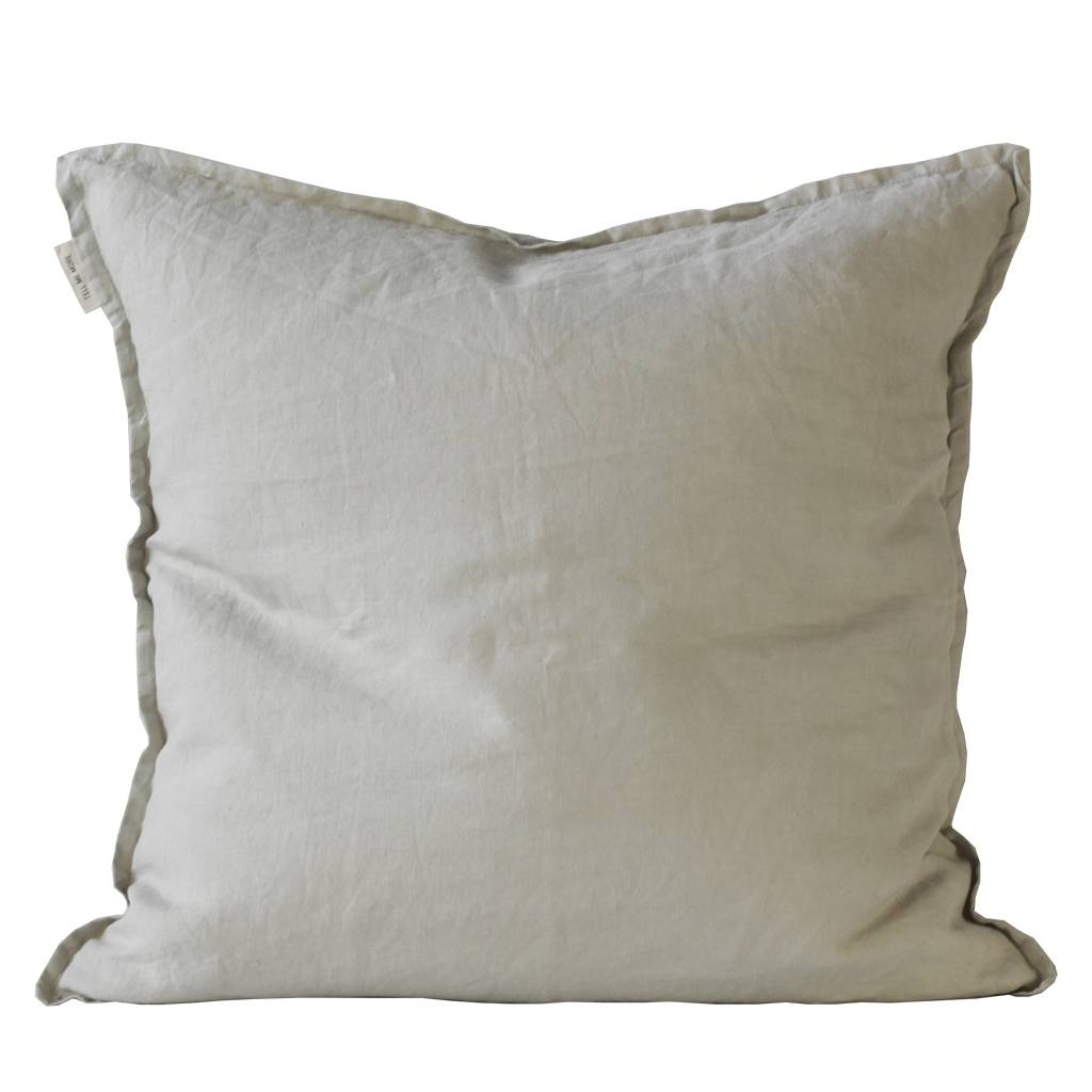 Tell me more Cushion cover 100% stonewashed linen - light gray - 50x50 - Tell Me More
