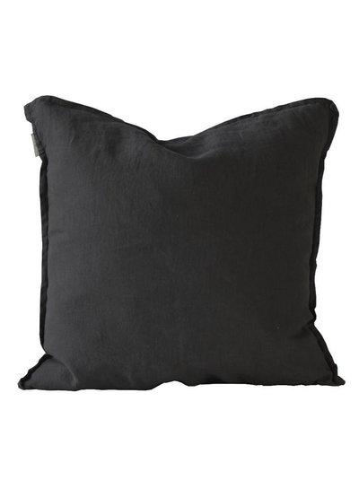 Tell me more Funda de cojín 100% lino - negro - 65x65cm - Tell Me More