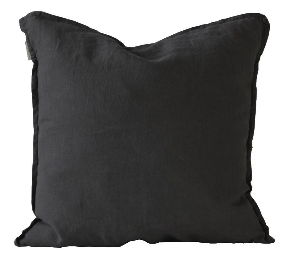 Tell me more Housse de coussin 100% lin - noir - 65x65cm - Tell Me More