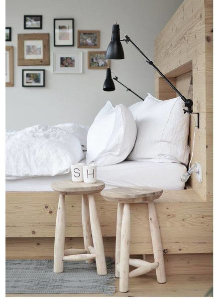 Wooden chairs by House Doctor in this Inspiring DIY bedroom setting in white, black and lots of natural! Seen at frenchyfancy.com