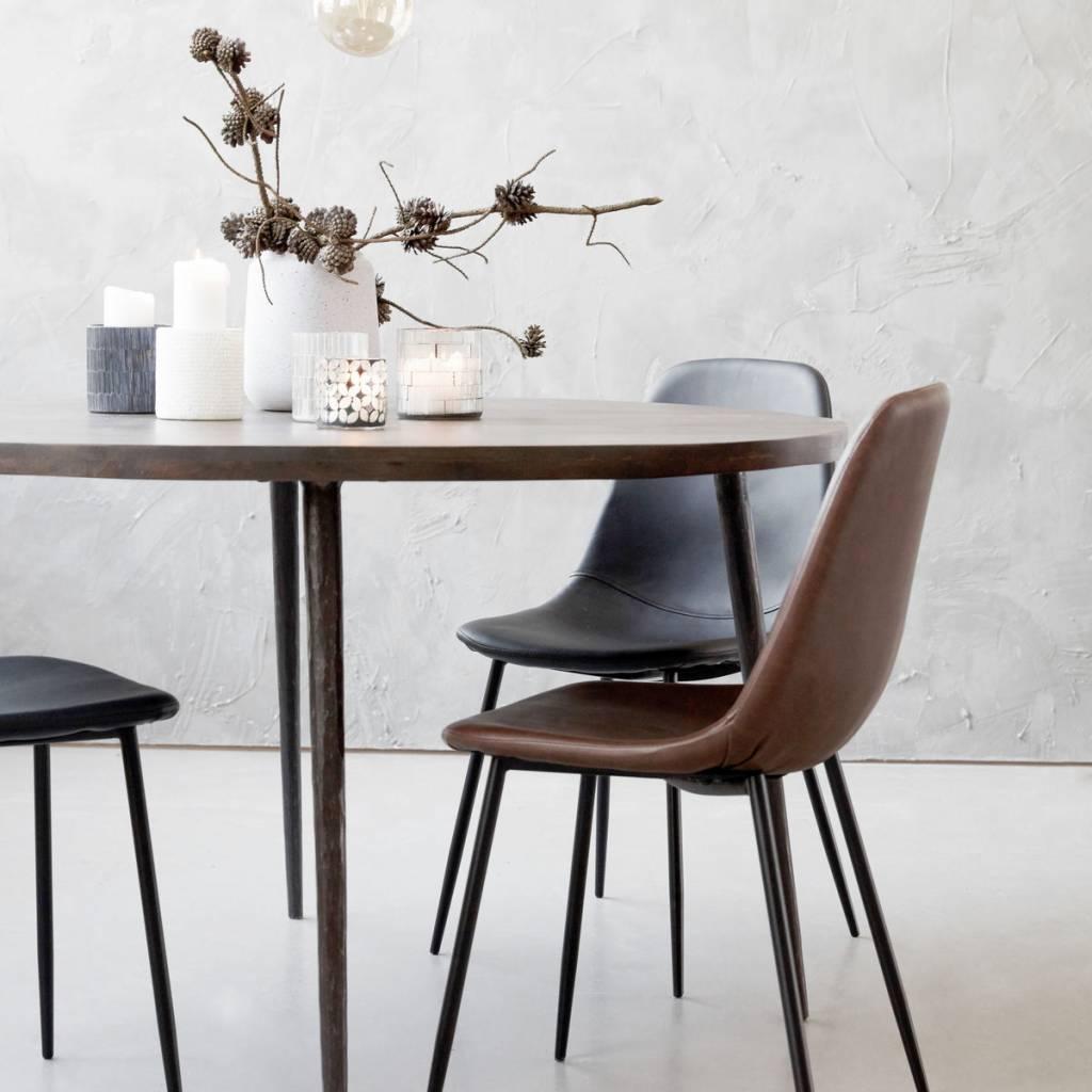House doctor silla escandinava de acero y cuero marr n for Silla escandinava
