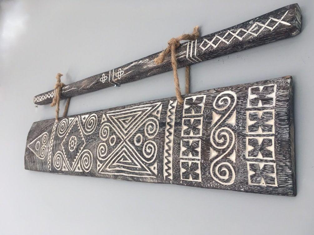 MaduMadu Colgadura de madera teca - Sumba Art - 80xh16cm - MaduMadu