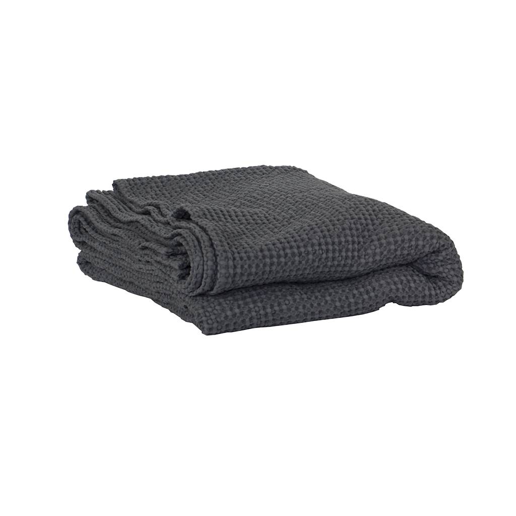 Tell me more Blanket in waffled cotton MIRO - Dark Grey - 180x260cm - Tell Me More