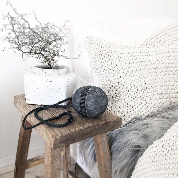Tell me more Coussin tricot 100% coton - Blanc / Offwhite - Tell Me More