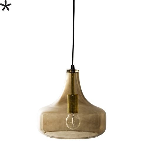 Bloomingville Lampe Suspension en verre - marron - Ø25,5xH23cm - Bloomingville