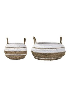 Bloomingville Set de 2 paniers - Raphia - naturel blanc - Bloomingville