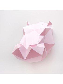 Assembli Trofeo pared Origami hippopotamus - rosa - Assembli