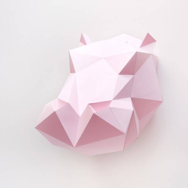 Assembli Throphée origami mural en papier Hippopotame Rose- Assembli