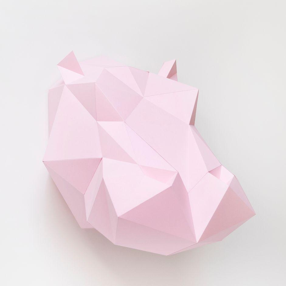 Assembli Wall hanging - hippopotamus DIY paper kit - white - Assembli