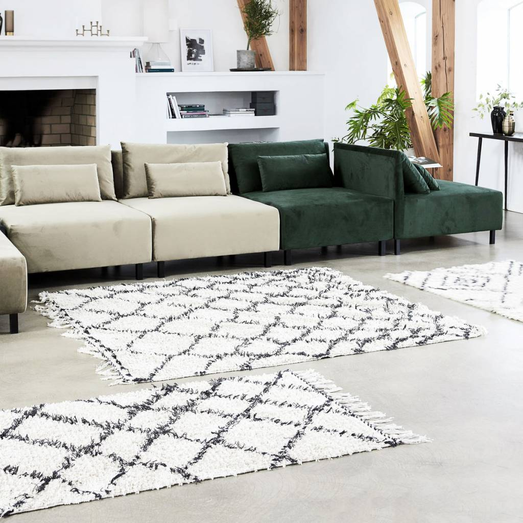 House Doctor Scandinavian-Ethnic rug 'Kuba' - Ivory & black - Ivory - 140x200 - House Doctor