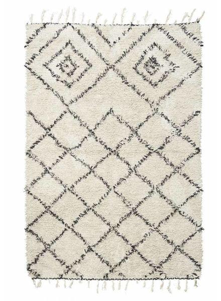 House Doctor Scandinavian-Ethnic rug 'Kuba' - Ivory & black - 140x200 - House Doctor