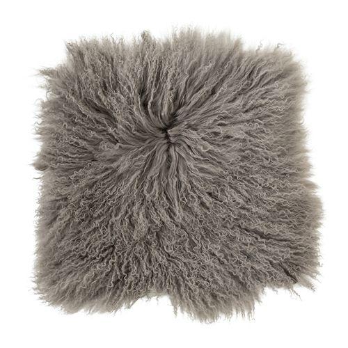 Bloomingville Coussin de siège en peau d'agneau Tibet - gris - Bloomingville
