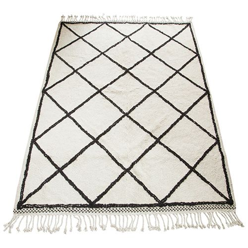 snowdrops copenhagen tapis 39 oslo 39 style berb re blanc noir 170x240cm petite lily interiors. Black Bedroom Furniture Sets. Home Design Ideas