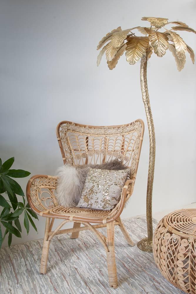 Zenza Lampe de salon sur pied 'Palmier' - laiton avec finition or - Ø75x180cm - Zenza