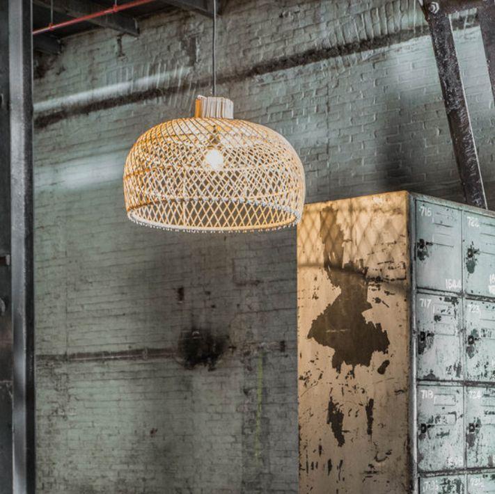 Oneworld Interiors Suspension en rotin - naturel - Ø56cm
