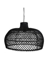 Lampe suspension en osier 80cm hk living par hk for Suspension rotin noir