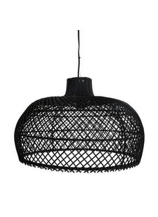 Oneworld Interiors Suspension en rotin - noir - Ø56cm