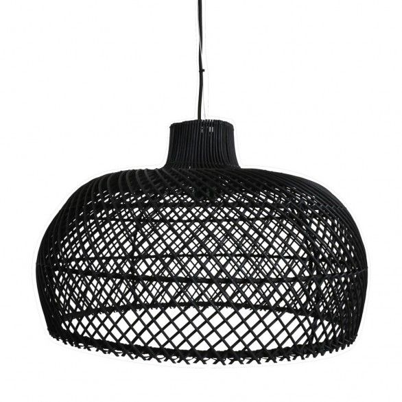 Oneworld interiors suspension en rotin noir ø56cm