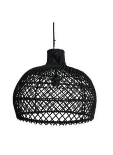 Oneworld Interiors Suspension en rotin - noir - Ø39cm