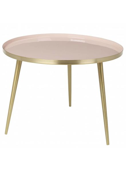 Broste Copenhagen Scandinavian coffee table round - Brass and cream Pink / Nude - Ø57Xh42cm - Broste Copenhagen
