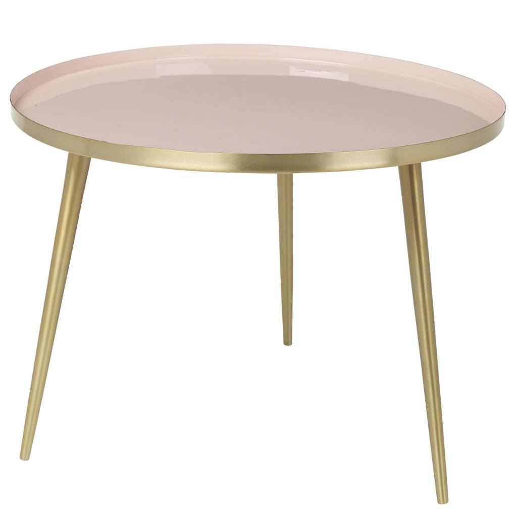 broste copenhagen scandinavian coffee table round - brass and