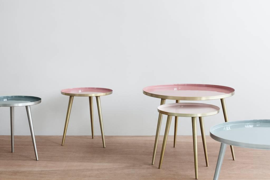 Broste Copenhagen Table à café Scandinave ronde - Laiton et crème/rose - Ø57Xh42cm - Broste Copenhagen