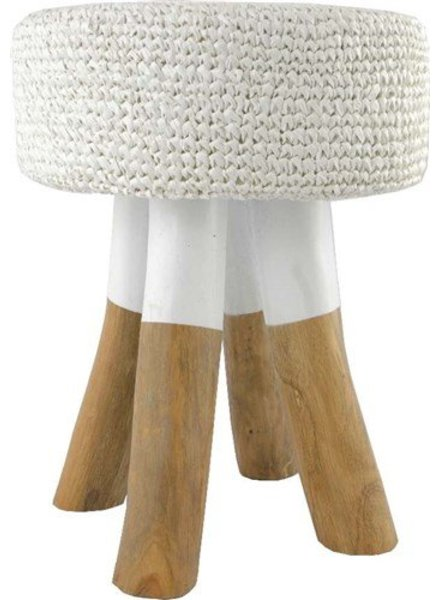 Wooden stool round in wood with weaved seating - naturel et white