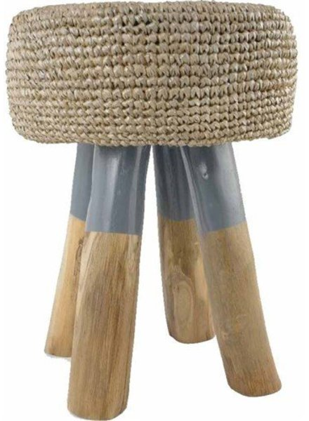 Wooden stool round in wood with weaved seating - naturel et grey