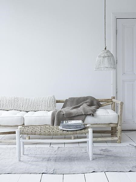 The Moroccan bench is a best seller and it looks gorgeous in this Boho setting, combined with linen, wool and Bamboo.