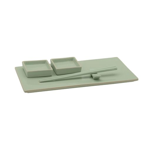 Bloomingville Sushi Set, Stoneware - 6 Pieces - Green - Bloomingville