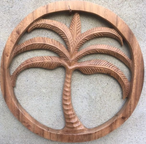 MaduMadu Colgadura de madera teca - Palmera - Ø35cm - MaduMadu