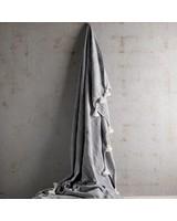 Tinekhome Couverture / Plaid Marocain en coton avec pompons - gris - 140x200cm - TinekHome