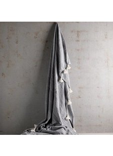 Tinekhome Blanket / Plaid Wool Moroccan with tassels - grey - 195x300cm - TinekHome