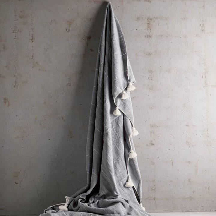 Tinekhome Blanket / Plaid Wool Moroccan with tassels - grey - 195x300cm - TinekHome